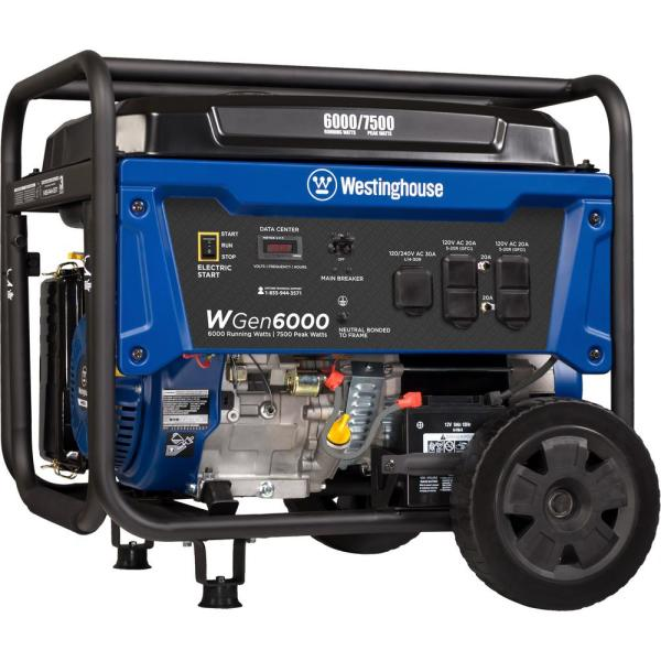 WGen6000 7,500/6,000-Watt Gas Powered Portable Generator with Electric Start and Transfer Switch Outlet for Home Backup