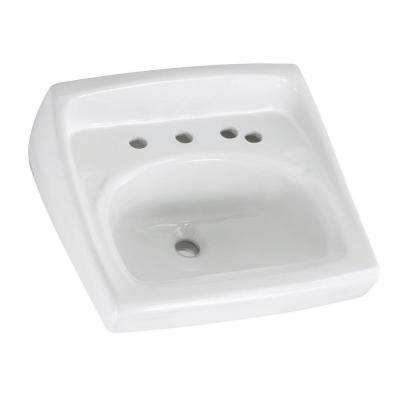 Lucerne Wall Hung Bathroom Sink in White with 8 in. Faucet Holes