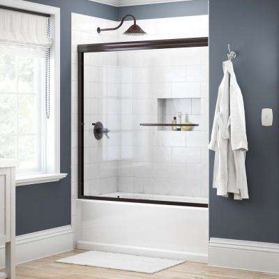 Simplicity 60 in. x 58-1/8 in. Semi-Frameless Traditional Sliding Bathtub Door in Bronze with Clear Glass