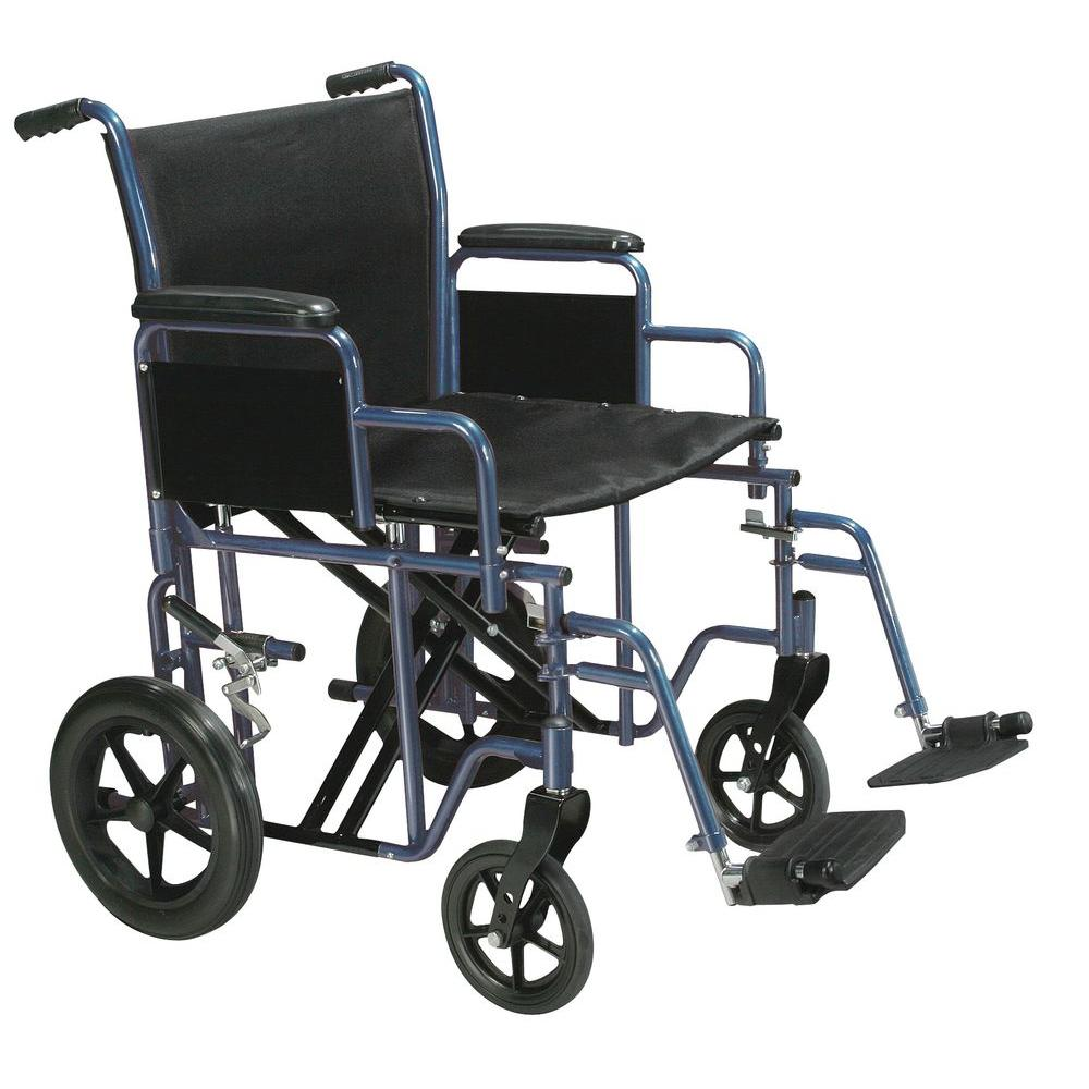 Drive Bariatric Heavy Duty Blue Transport Wheelchair with...