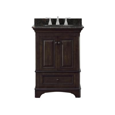 Moorpark 25 in. W Bath Vanity in Burnished Walnut with Granite Vanity Top in Brown with White Basin