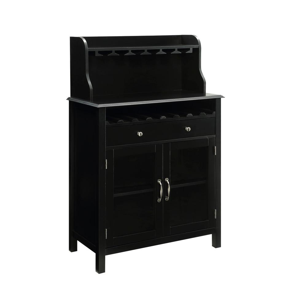 Black Home Bar Furniture: USL Hudson 8-Bottle Black Bar Cabinet-SK19228AR1-BK