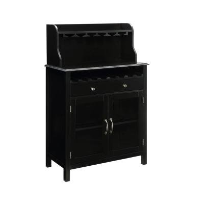 Hudson 8-Bottle Black Bar Cabinet