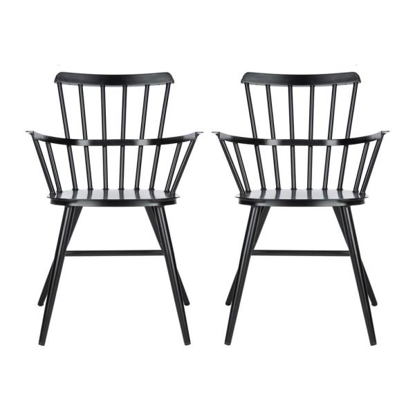 Clifton Matte Black Stackable Metal Outdoor Dining Chair (2-Pack)