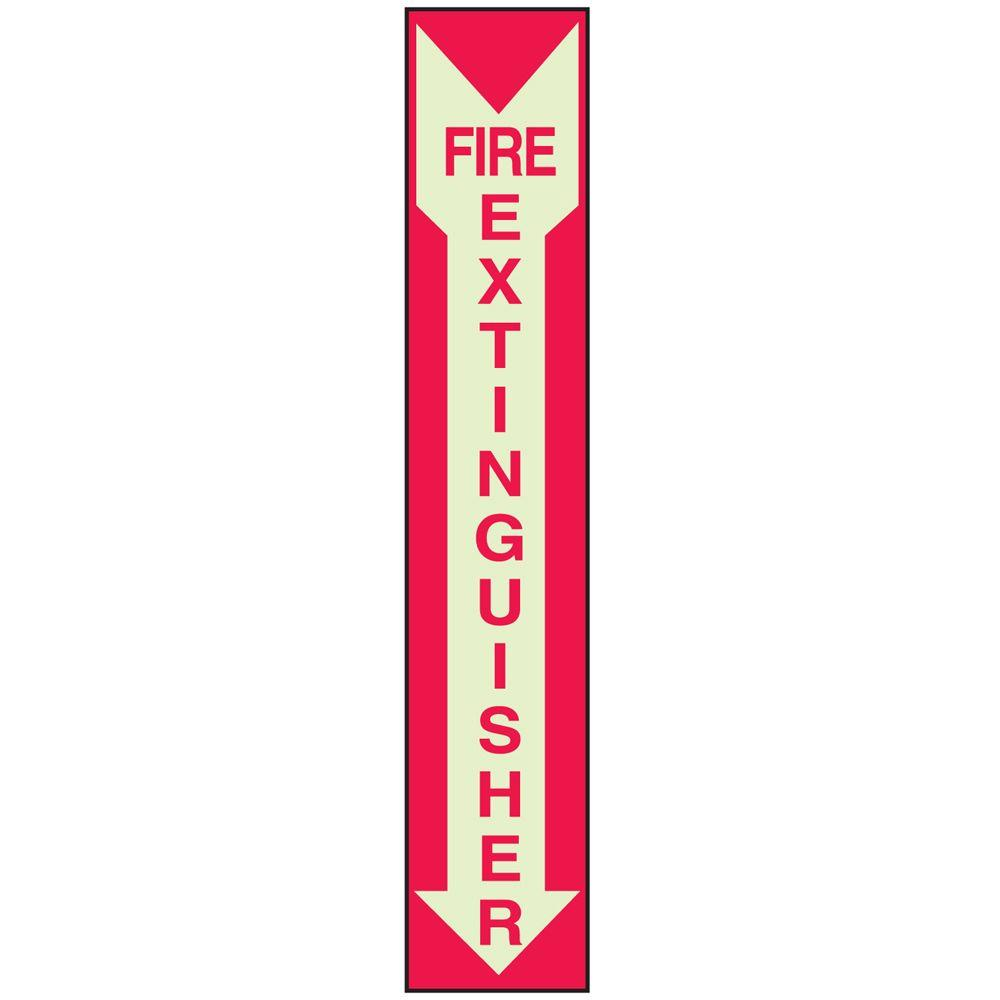 14 in. x 5 in. Glow-in-the-Dark Self-Stick Polyester Fire Extinguisher Sign