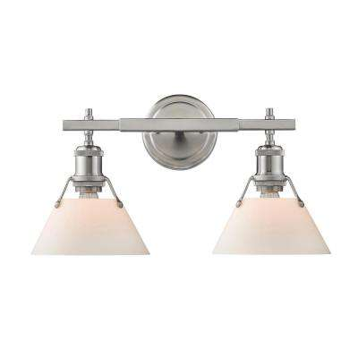 Orwell PW 2-Light Pewter Bath Light with Pewter Shade