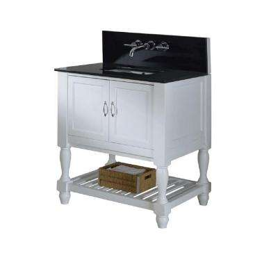 Mission Turnleg Spa Premium 32 in. Vanity in White with Granite Vanity Top in Black with White Basin