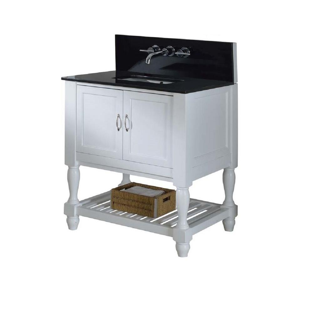 Mission Turnleg Spa Premium 32 in. Vanity in White with Granite