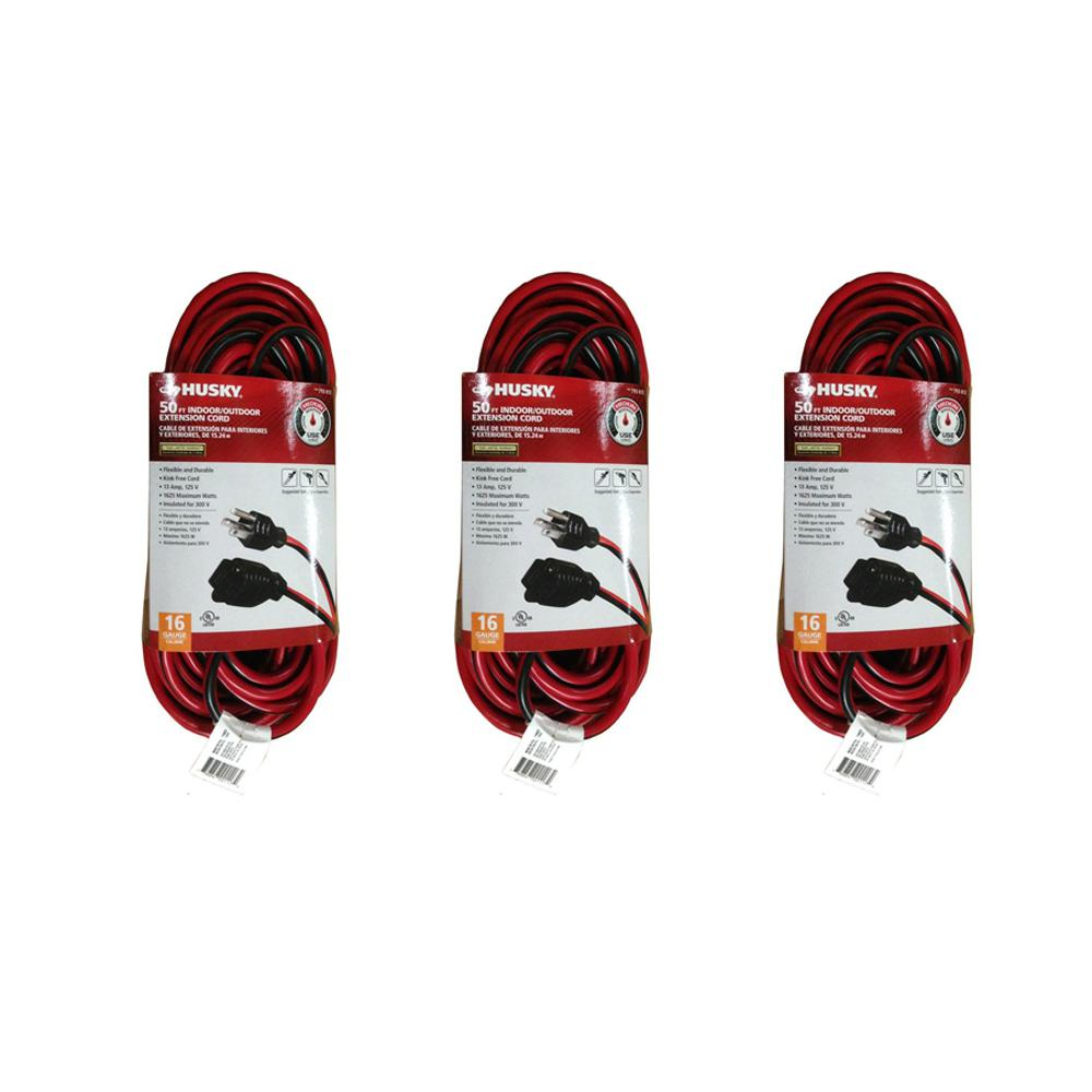 50 ft. 16/3 Medium-Duty Indoor/Outdoor Extension Cord, Red and Black (3-Pack)