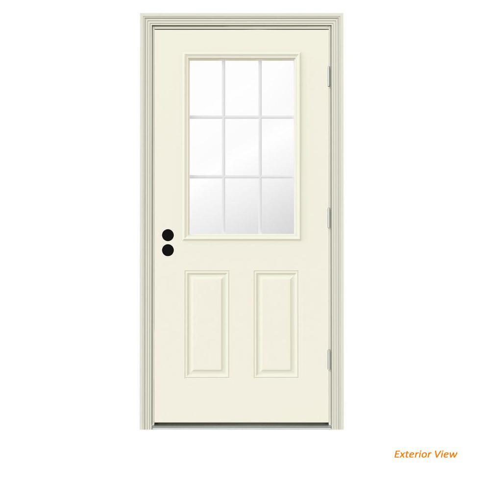 36 in. x 80 in. 9 Lite Vanilla Painted Steel Prehung Left-Hand Outswing Front Door w/Brickmould