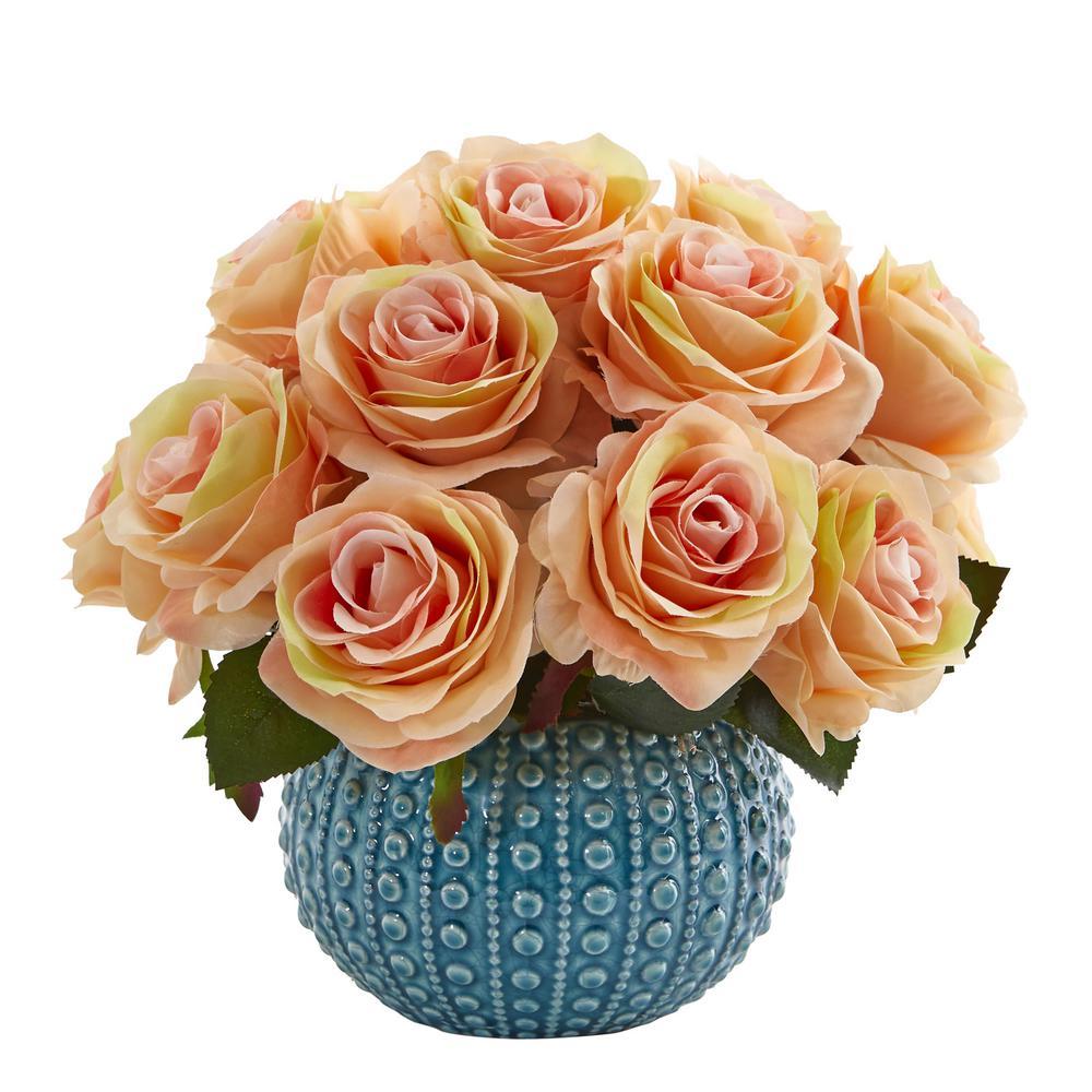 11.5 in. High Pink Roses Artificial Arrangement in Blue Ceramic Vase