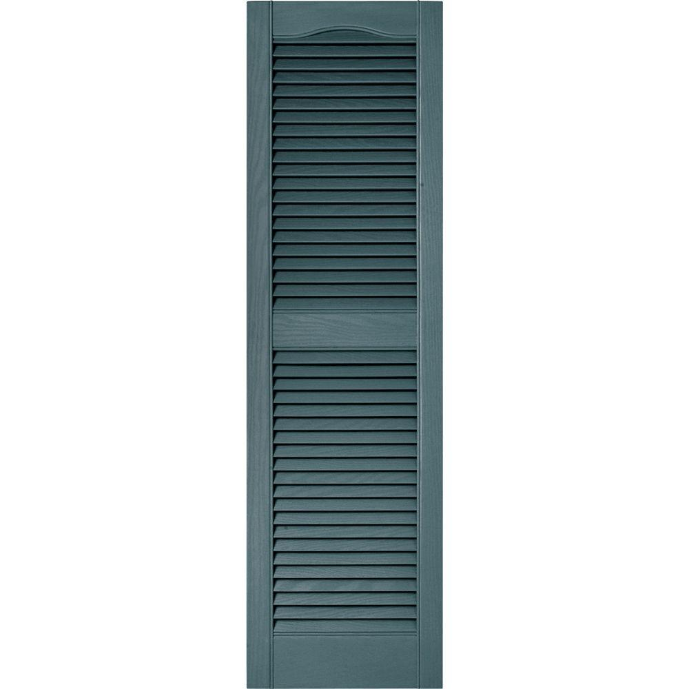 Builders Edge 15 In X 52 In Louvered Vinyl Exterior Shutters Pair In 004 Wedgewood Blue
