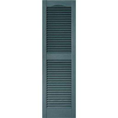 15 in. x 52 in. Louvered Vinyl Exterior Shutters Pair in #004 Wedgewood Blue