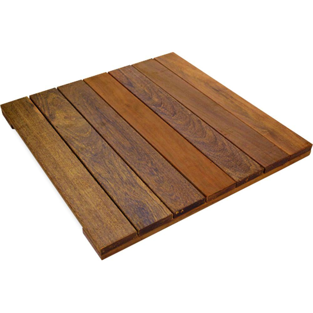 Deckwise wisetile 1 6 ft x 1 6 ft solid hardwood deck for Hardwood outdoor decking
