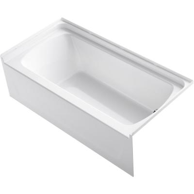 STORE+ 5 ft. Right-Hand Drain Rectangular Alcove Bathtub in White
