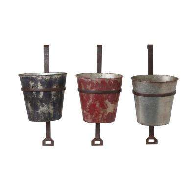 10.4 in. x 22.2 in. Multi-Color Metal Hanging Planter Buckets (3-Set)