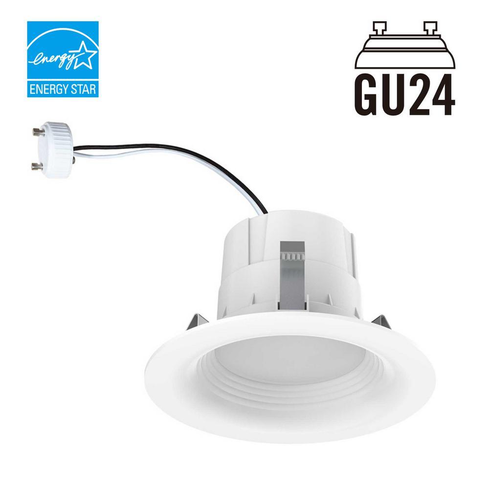 65-Watt Equivalent Daylight 4 in. GU24 White Integrated LED Recessed Trim