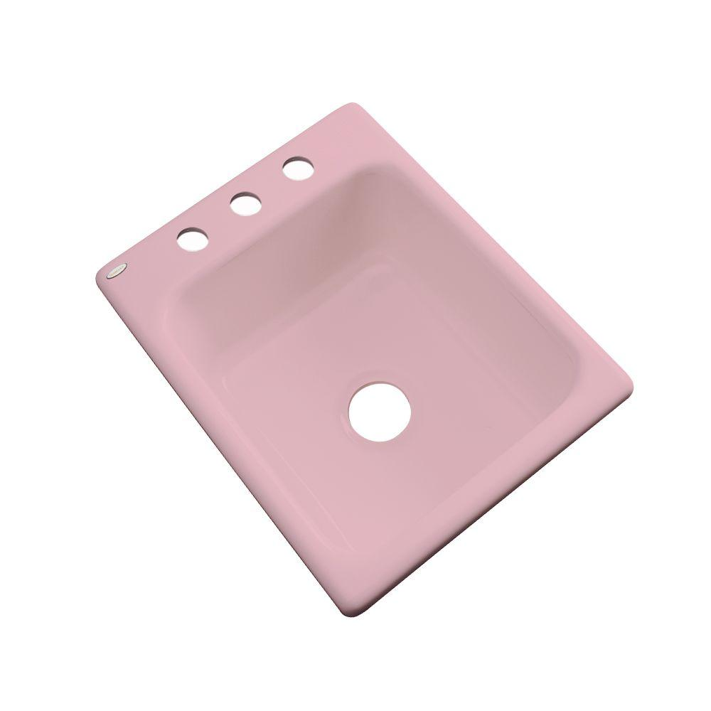Thermocast Crisfield Drop-In Acrylic 17 in. 3-Hole Single Bowl Entertainment Sink in Dusty Rose