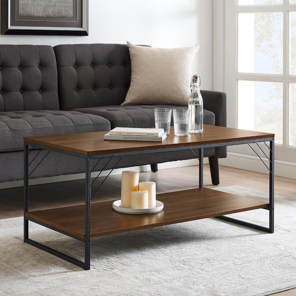 40 in. Dark Walnut Industrial Metal Accent Coffee Table