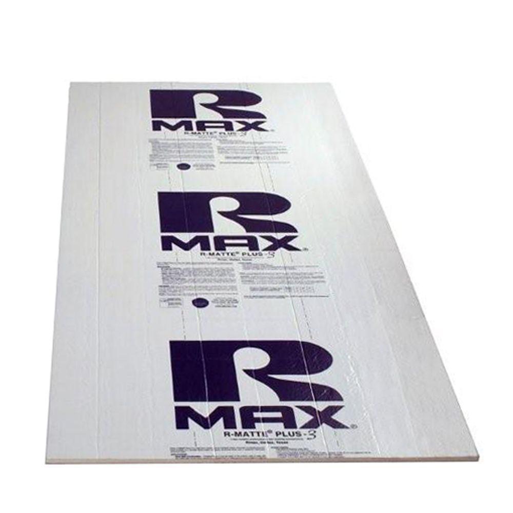 Rmax R-Matte Plus-3, 1/2 in. x 4 ft. x 8 ft. R-3.2 Polyisocyanurate Rigid Foam Insulation Board