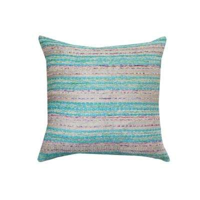 A1HC Blue-Purple Embroidered 20 in. Cotton Throw Pillow
