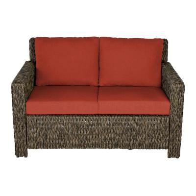 Laguna Point Brown Wicker Outdoor Patio Loveseat with Standard Quarry Red Cushions