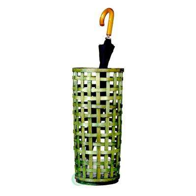Rustic Green Umbrella Stand with Liner