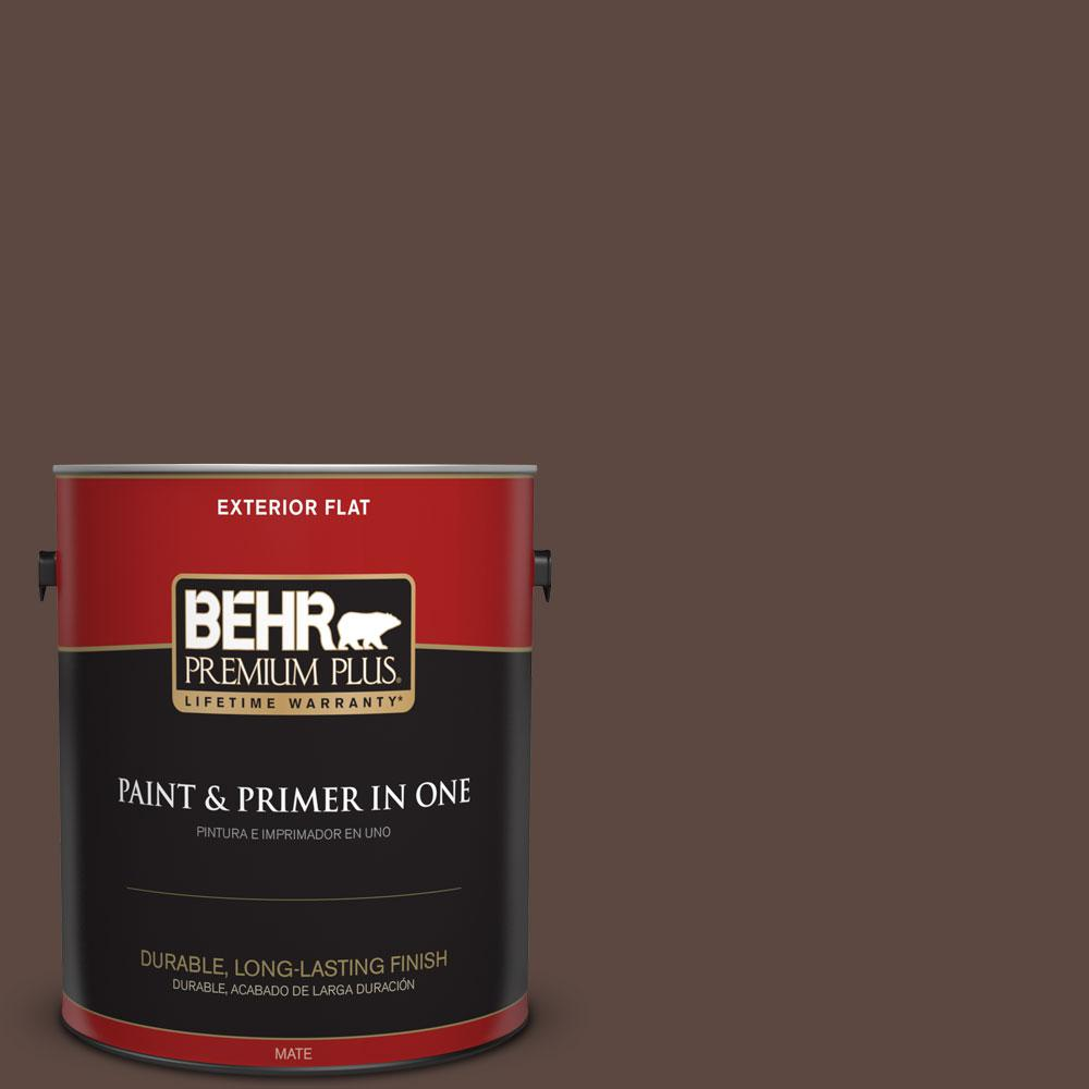 BEHR Premium Plus 1-gal. #N170-7 Baronial Brown Flat Exterior Paint