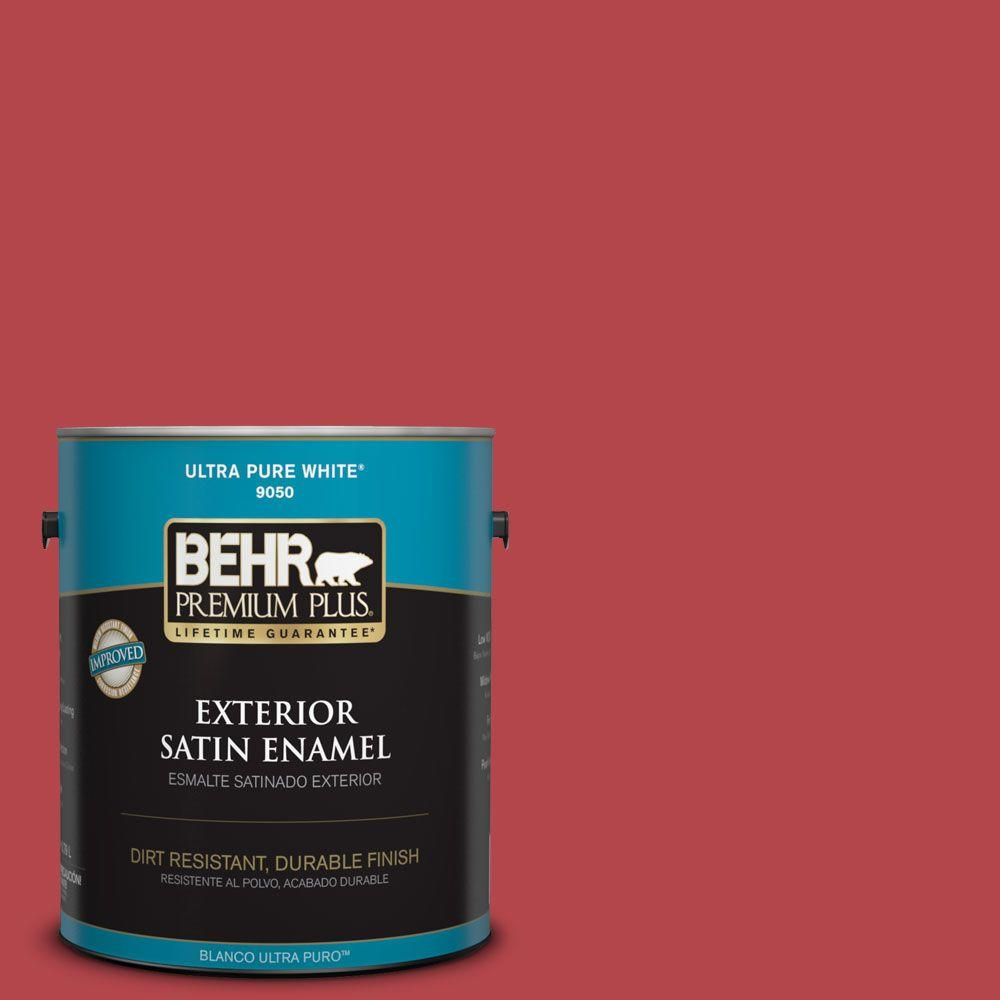 1-gal. #HDC-SM14-10 Intrigue Red Satin Enamel Exterior Paint