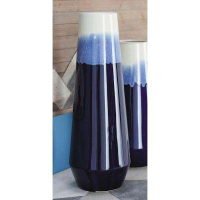 20 in. Ceramic Tulip-Shaped in Blue and White Gradients Decorative Vase