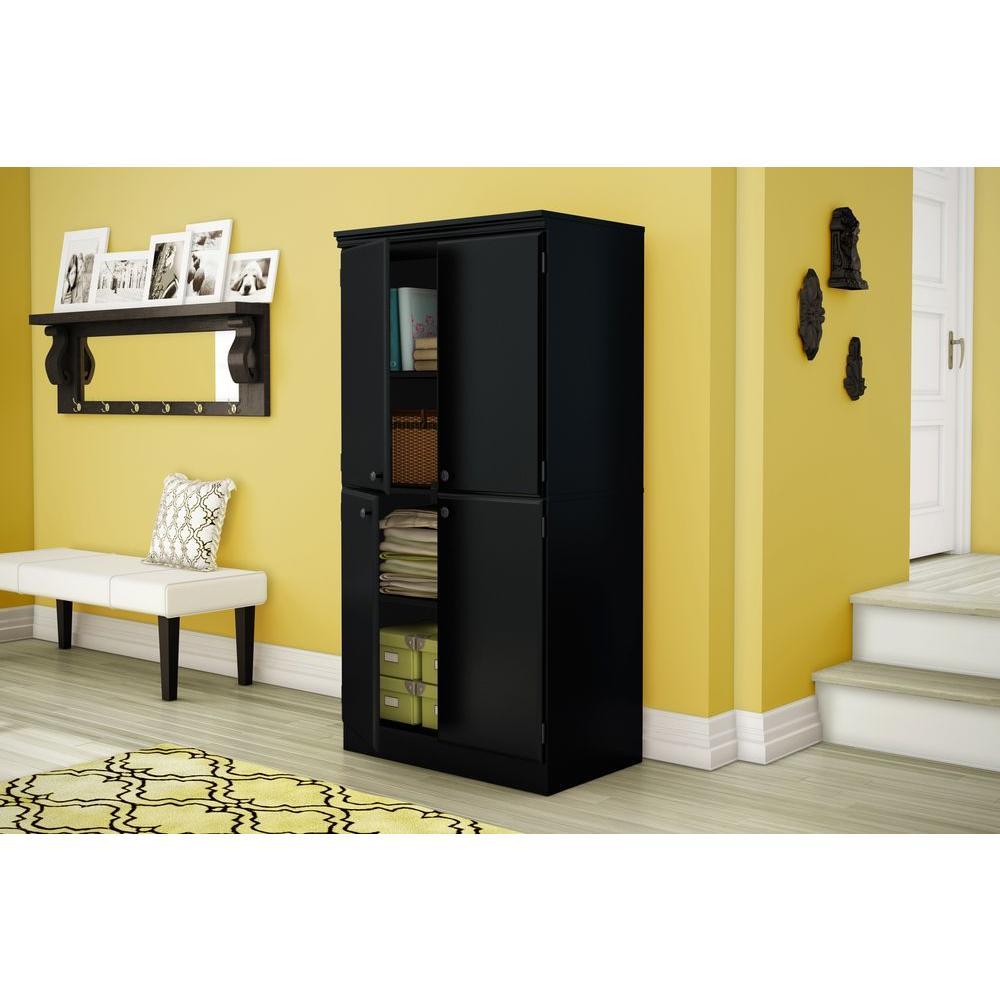 South Shore Morgan Pure Black Storage Cabinet-7270971 - The Home Depot