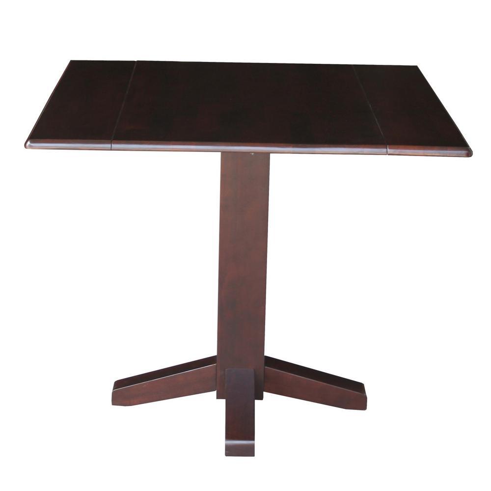 Rich Mocha Solid Wood Dropleaf Dining Table