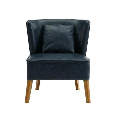 Navy Blue Accent Chair with Curved Back