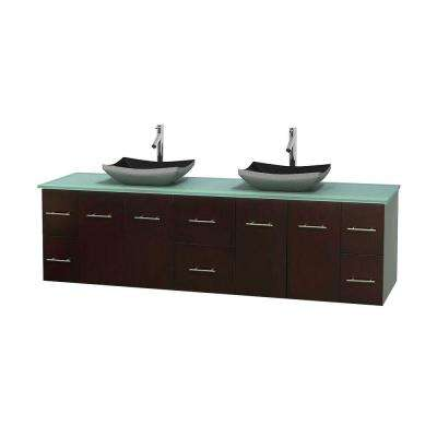 Centra 80 in. Double Vanity in Espresso with Glass Vanity Top in Green and Black Granite Sinks