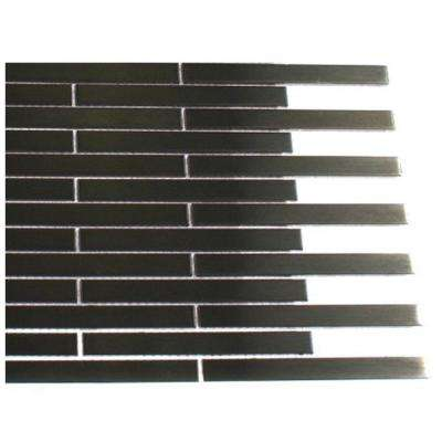 Metal Nero Stainless Steel 1/2 in. x 4 in. Stick Brick Tiles - 6 in. x 6 in. Tile Sample