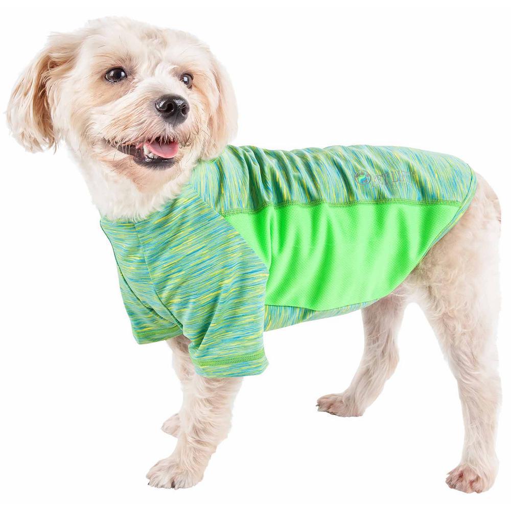 Pet Life Medium Green Active Warf Speed Ultra Stretch Sporty Performance Dog T Shirt Tshl5gnmd The Home Depot