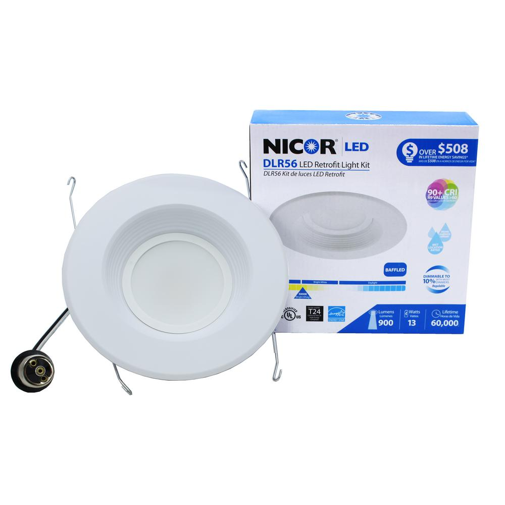 nicor d series 6 in white 800 lumen integrated led recessed baffle