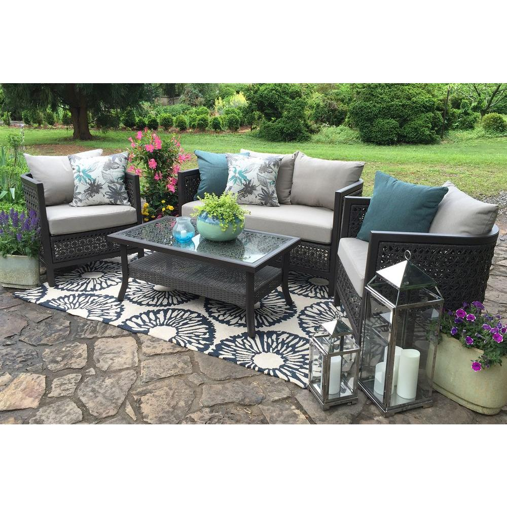 AE Outdoor Carlsbad 4-Piece All-Weather Wicker Patio Deep Seating Set with Sunbrella Heritage Ashe Cushions
