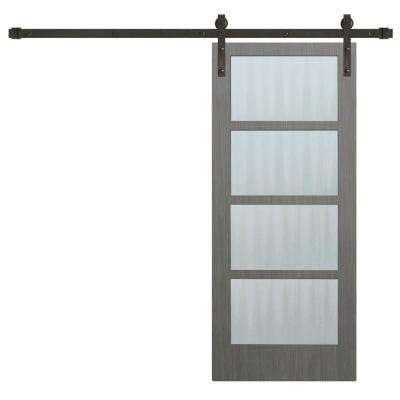 30 in. x 84 in. 4-Lite Clear Coat Driftwood Mistlite Glass Interior Barn Door with Bronze Sliding Door Hardware Kit
