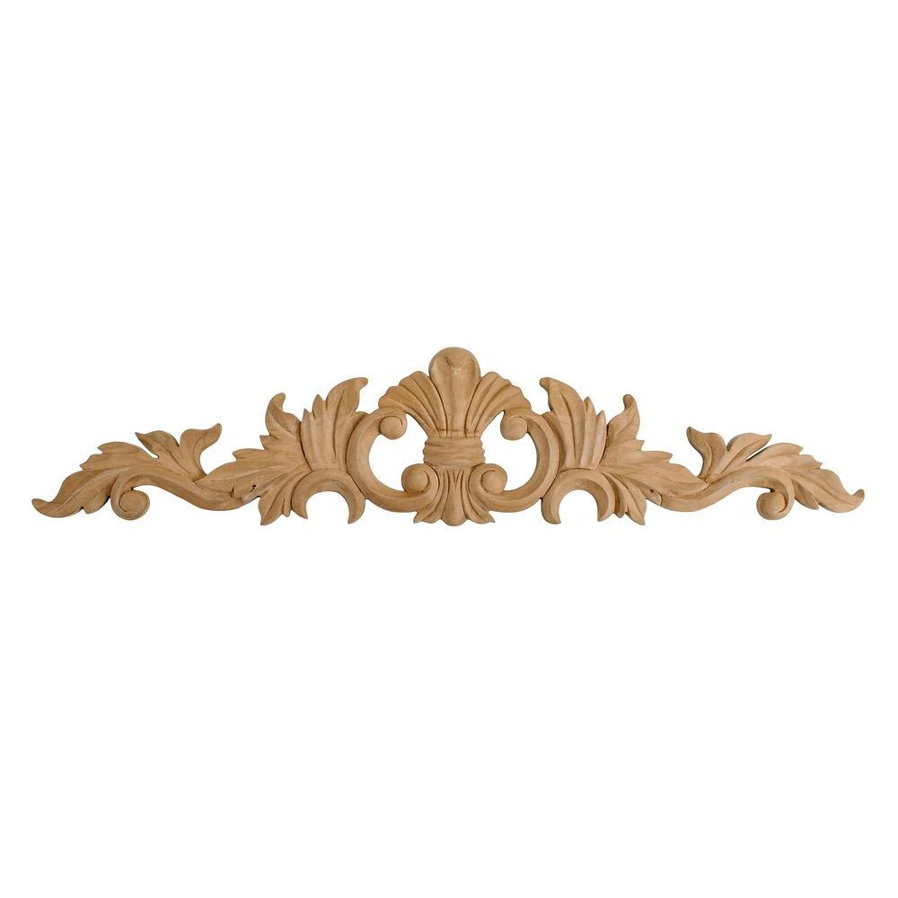 American Pro Decor 5-1/4 in. x 24 in. x 5/8 in. Unfinished Large Hand Carved North American Solid Cherry Wood Onlay Acanthus Wood Applique