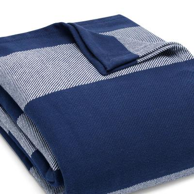 Boylston Navy Blue Striped Cotton Woven Blanket