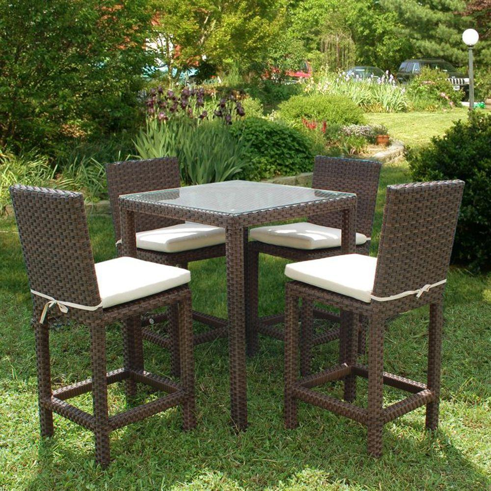 Monza Square 5 Piece Patio High Dining Set With Off White Cushions