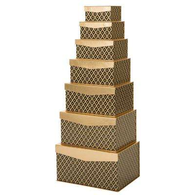 6.46 in.Nested Box Rectangle Grid Pattern Gift box (Set of 7)