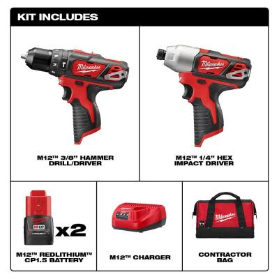 M12 12-Volt Lithium-Ion Cordless Hammer Drill/Impact Driver Combo Kit (2-Tool) W/(2) 1.5Ah Batteries, Charger & Bag