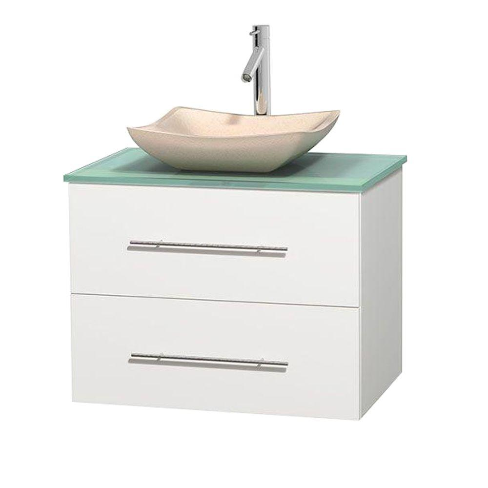 Wyndham Collection Centra 30 in. Vanity in White with Glass Vanity Top in Green and Sink