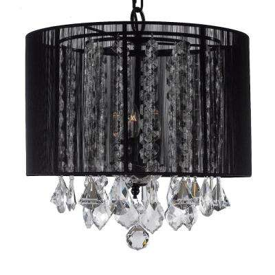 Empress Crystal 3-Light Black Chandelier with Shade