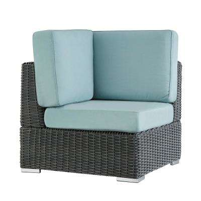 Camari Charcoal Wicker Corner Outdoor Sectional Chair with Blue Cushion