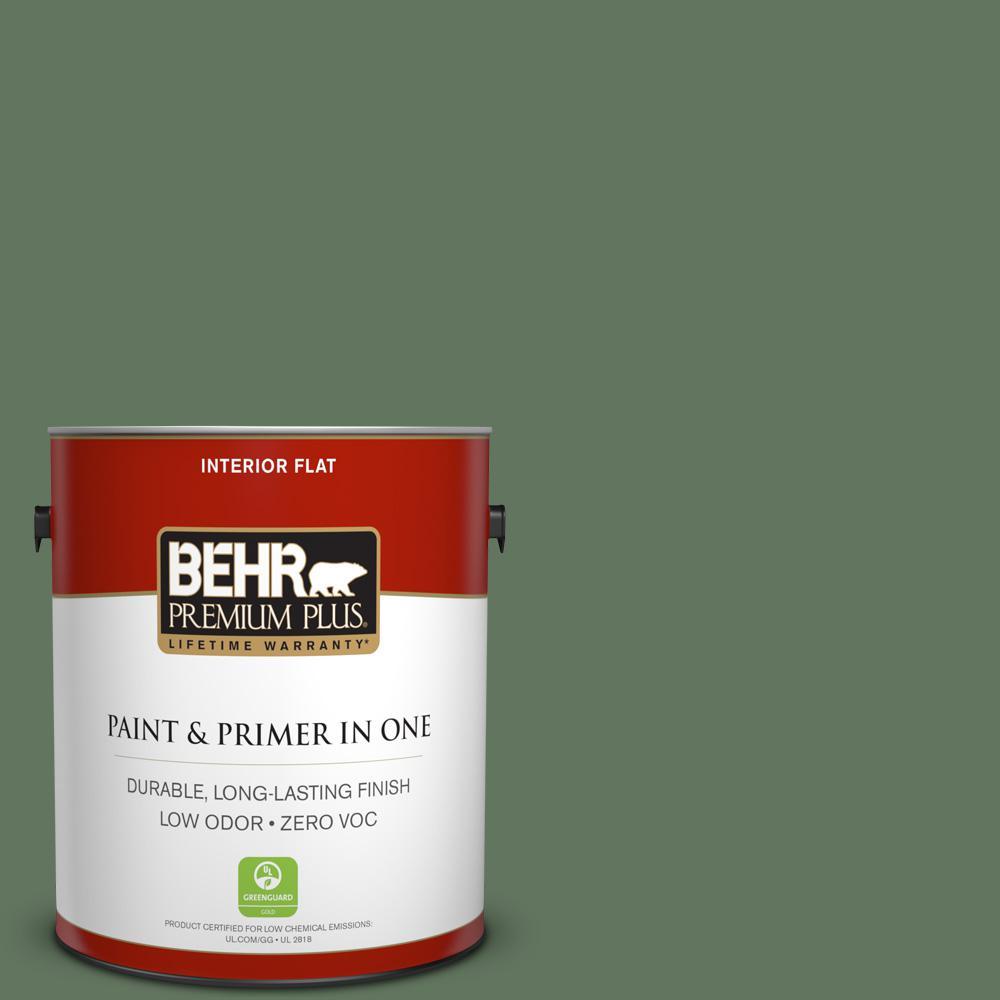 BEHR Premium Plus 1-gal. #440F-6 Old Vine Zero VOC Flat Interior Paint, Greens