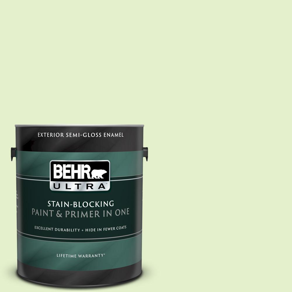 Behr Ultra 1 Gal 420c 2 Water Sprout Semi Gloss Enamel Exterior Paint And Primer In One 585001 The Home Depot
