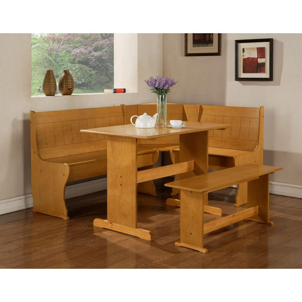 Linon Chelsea 3-Piece Natural Dining Set